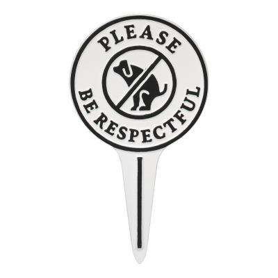 Pet Owner Courtesy Small Round No Dog Poop Round Cast Aluminum Yard Sign