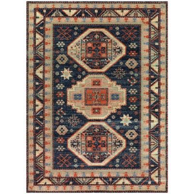 Woven Treasures Multicolored 6 ft. x 9 ft. Medallion Area Rug