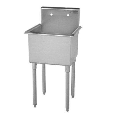T-Series Freestanding Stainless Steel 27 in. 2-Hole Single Bowl Scullery Sink