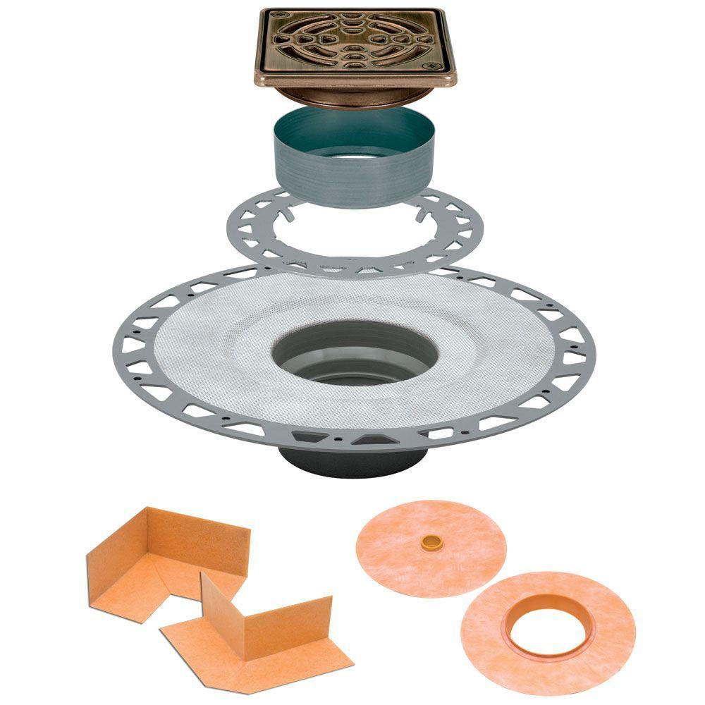 Kerdi-Drain 4 in. x 4 in. PVC Drain Kit in Oil-Rubbed Bronze Stainless Steel