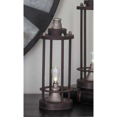 12 in. Brown Metal LED Lantern