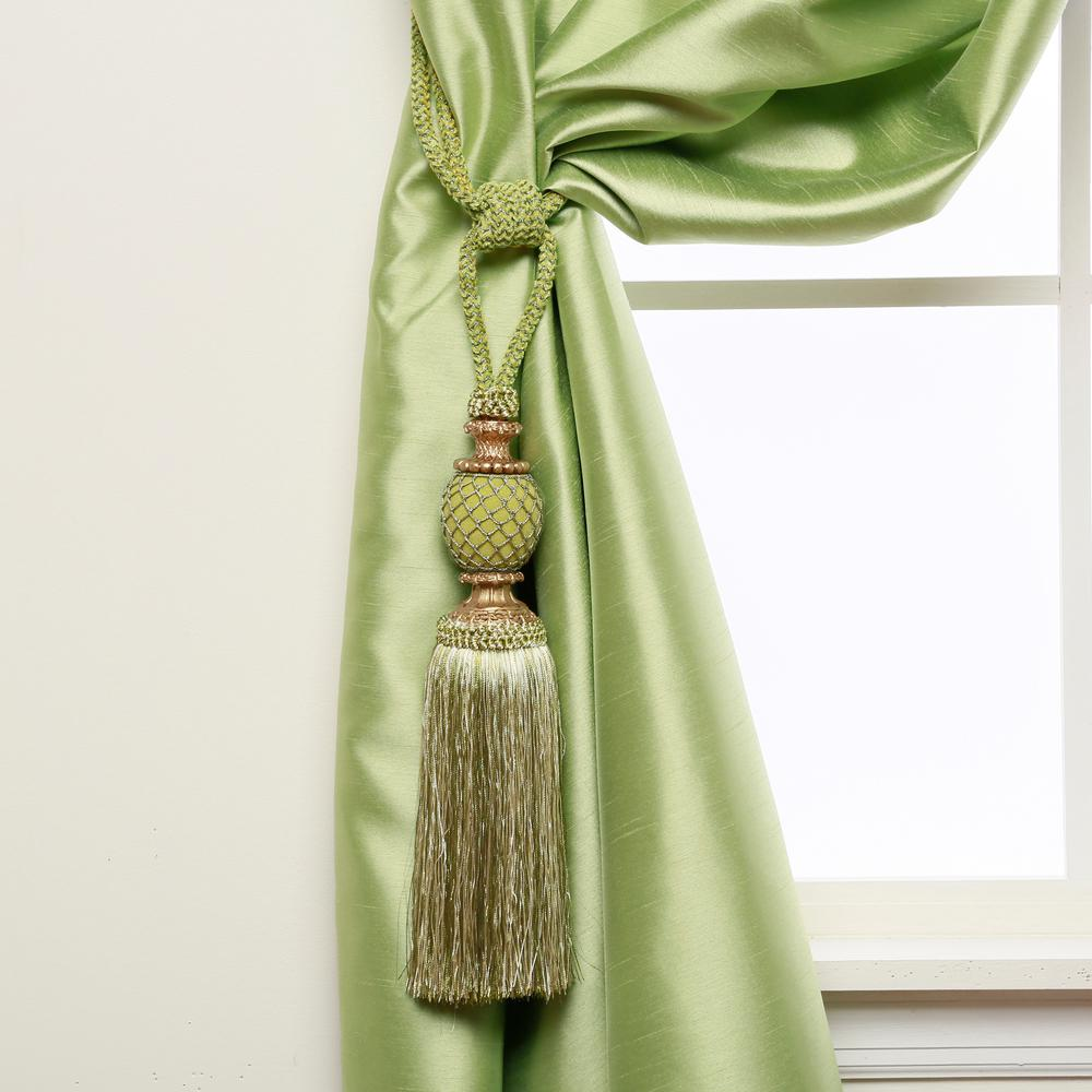 Handcrafted 32 in. L Bella Tassel Curtain Tieback in Green (2-Pack)