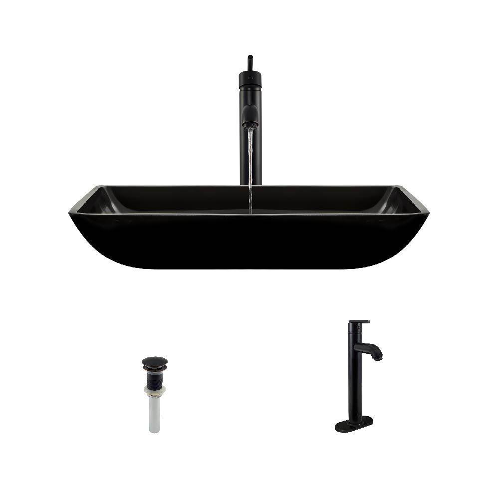 Glass - Black - Vessel Sinks - Bathroom Sinks - The Home Depot