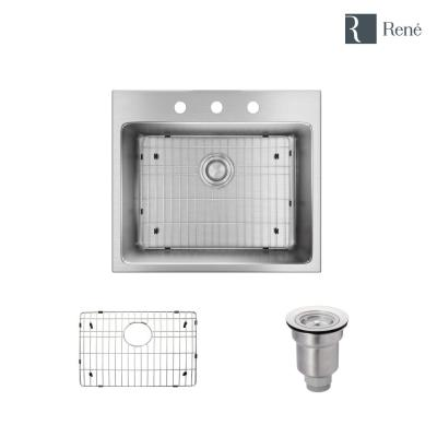 Drop-in Stainless Steel 23 in. 3-Hole Single Bowl Kitchen Sink Kit