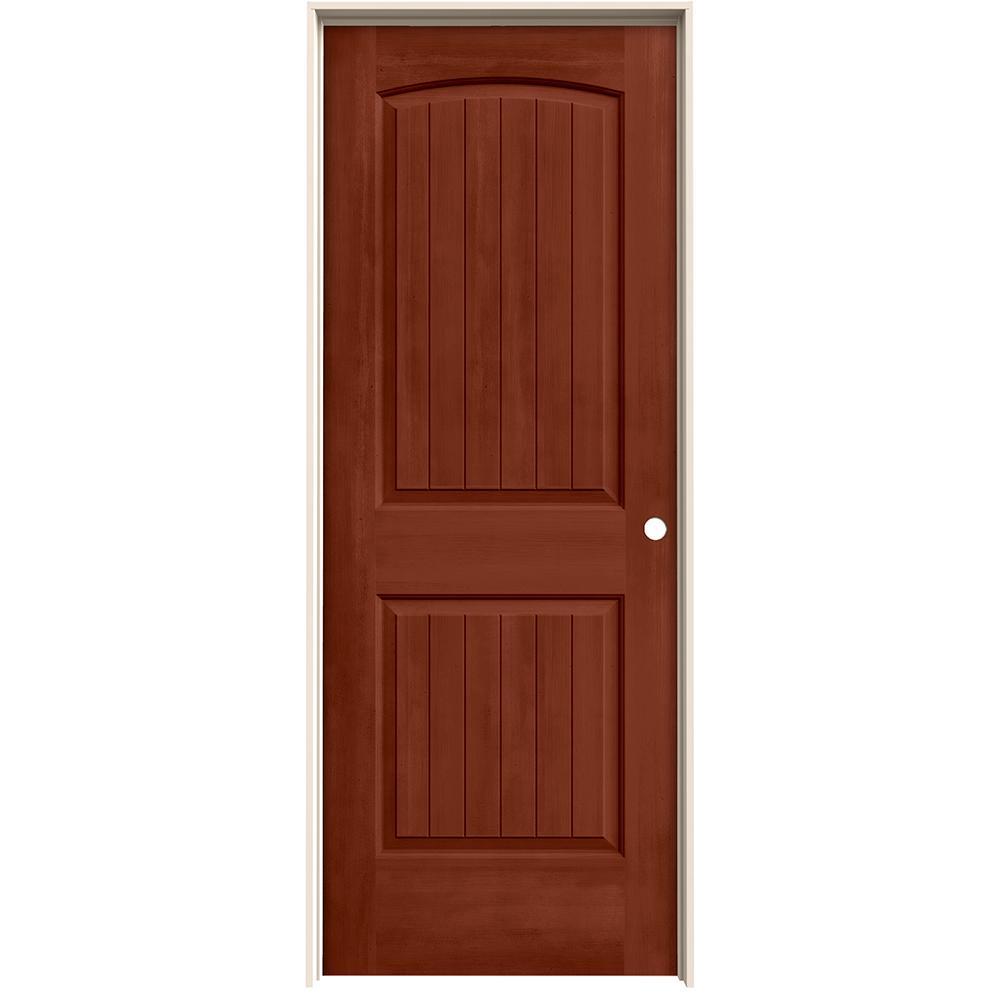 30 in. x 80 in. Santa Fe Amaretto Stain Left-Hand Solid Core Molded Composite MDF Single Prehung Interior Door
