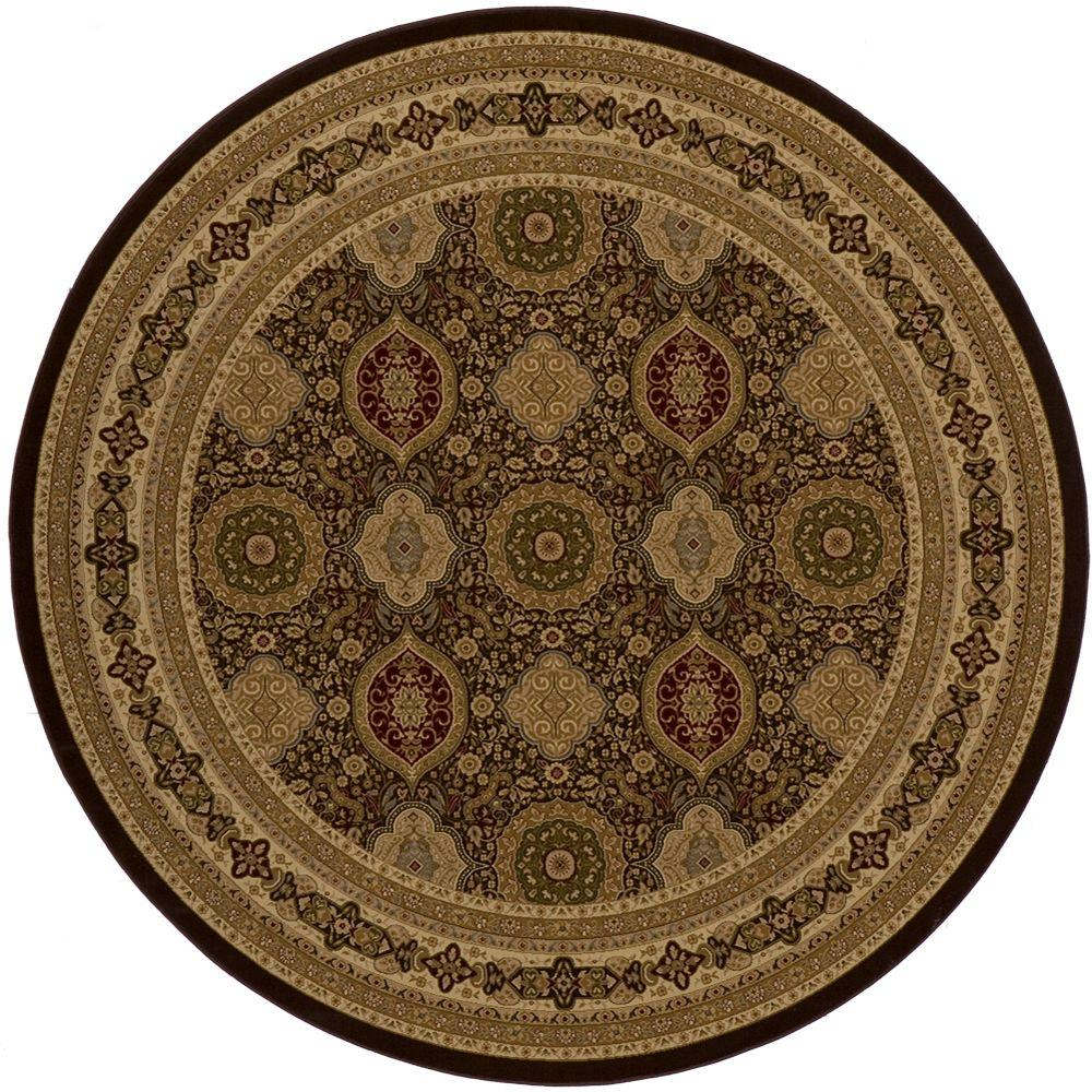 momeni lovely brown 7 ft 10 in indoor round area rug royalry 01brn7a7r the home depot. Black Bedroom Furniture Sets. Home Design Ideas