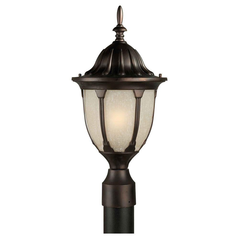 Talista 1-Light Outdoor Antique Bronze Post with Umber Linen Glass Shade