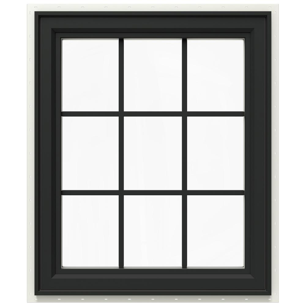 JELD-WEN 29.5 in. x 35.5 in. V-4500 Series Right-Hand Casement Vinyl Window with Grids - Bronze