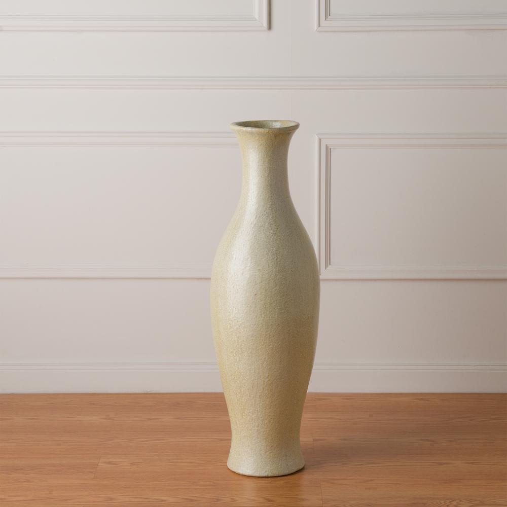38 in. Tall Mermaid Champagne Ceramic Vase