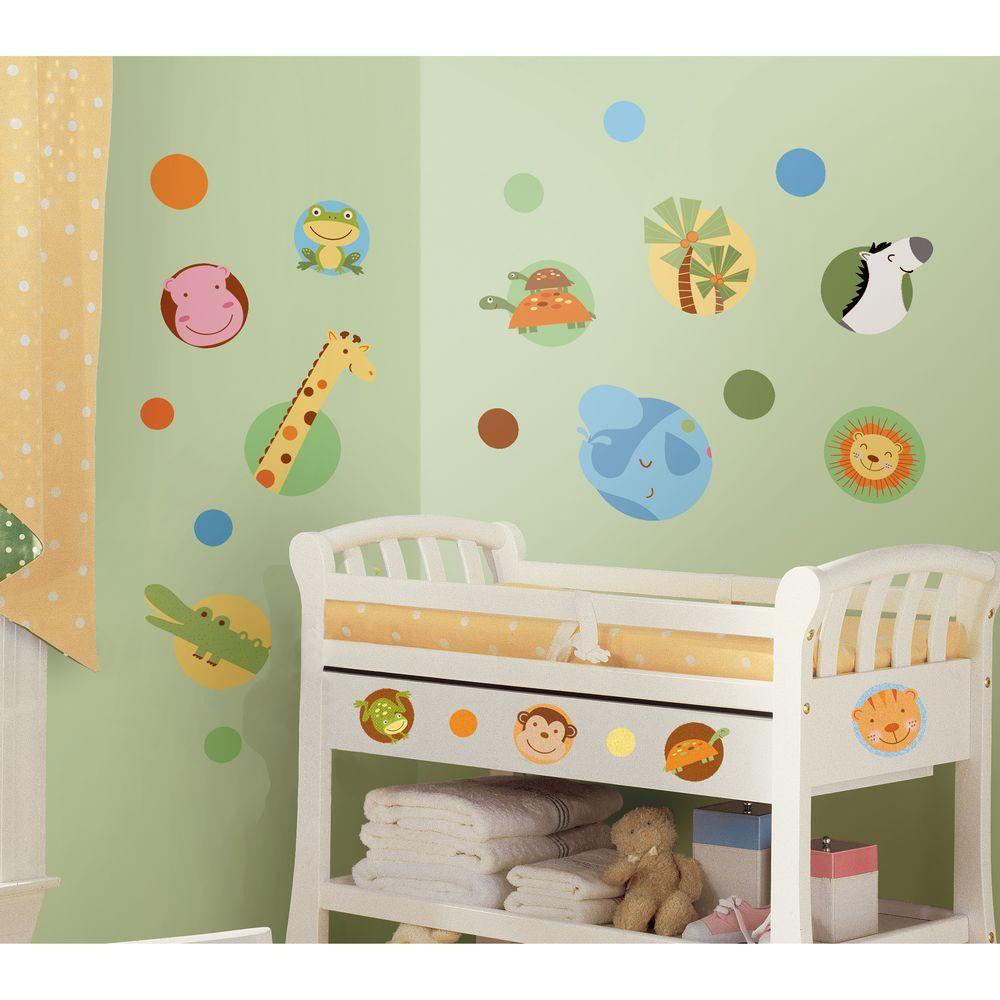 null 10 in. x 18 in. Jungle Animal Polka Dot 24-Piece Peel and Stick Wall Decals