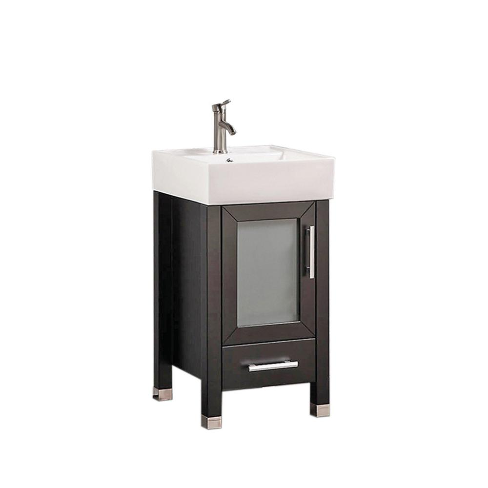 MTD Vanities Mesina 18 in. W x 18 in. D x 36 in. H Bath Vanity in Espresso with Ceramic Vanity Top in White with White Basin