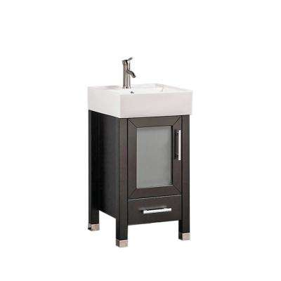 Mesina 18 in. W x 18 in. D x 36 in. H Bath Vanity in Espresso with Ceramic Vanity Top in White with White Basin