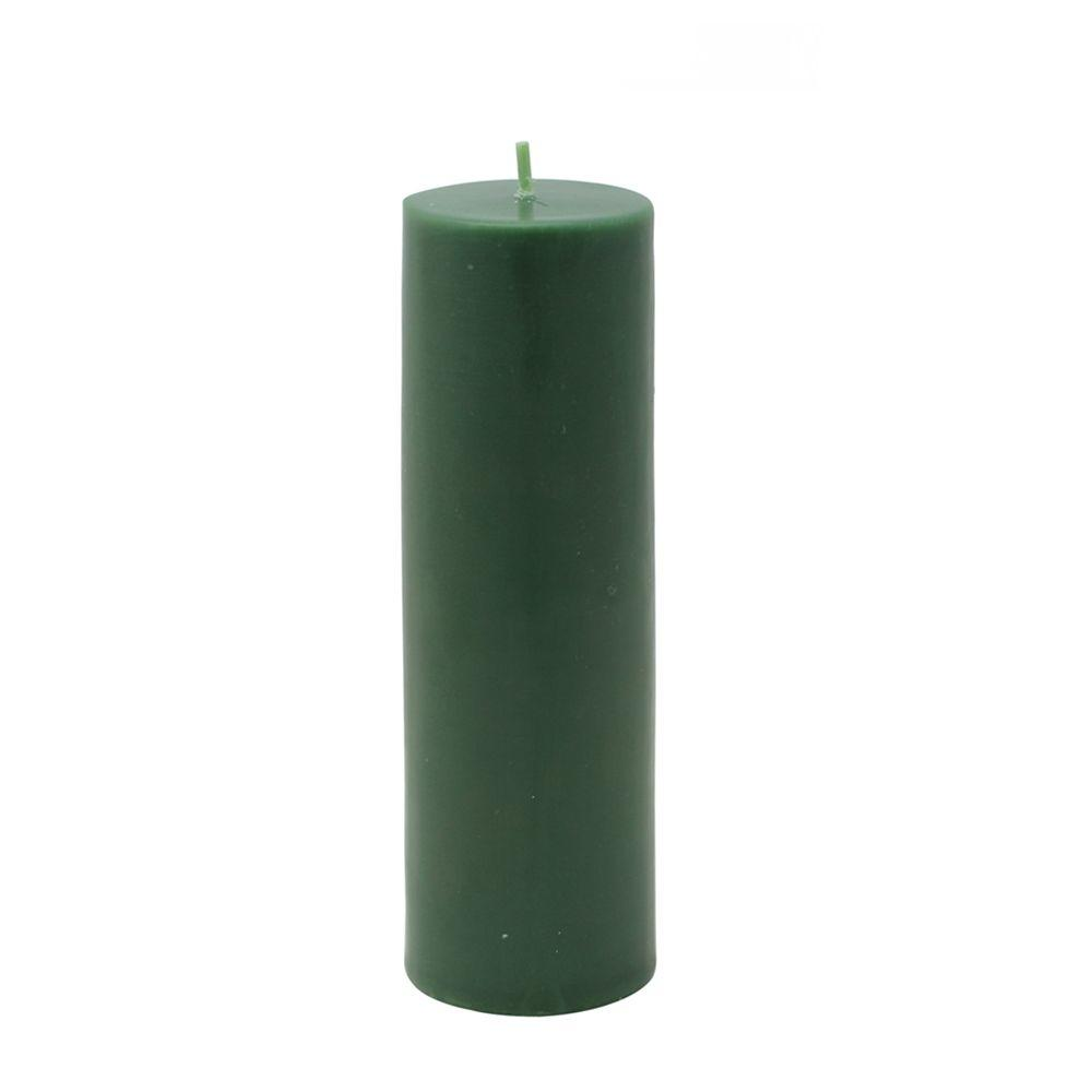 2 in. x 6 in. Hunter Green Pillar Candle Bulk (24-Case)