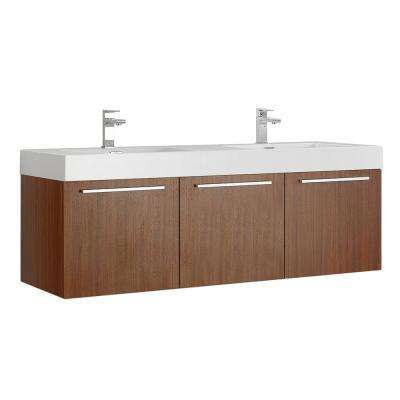 Vista 60 in. Modern Wall Hung Bath Vanity in Teak with Double Vanity Top in White with White Basins