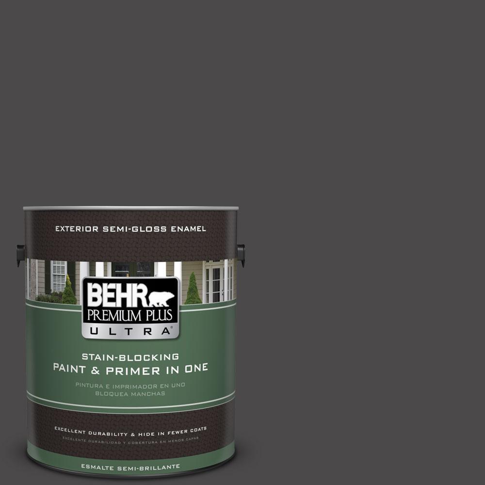 BEHR Premium Plus Ultra 1-gal. #N530-7 Private Black Semi-Gloss Enamel Exterior Paint
