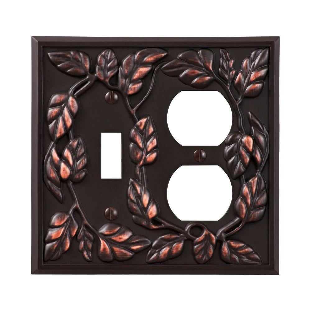 Amerelle Leaf 1 Toggle 1 Duplex Wall Plate - Aged Bronze