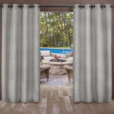 Biscayne Silver Indoor/Outdoor 2-Tone Textured Grommet Top Window Curtain