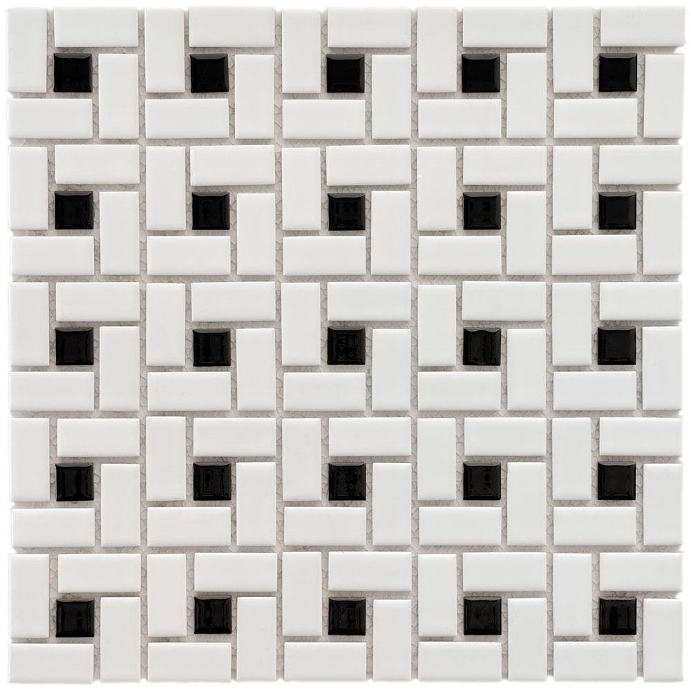 Merola Tile Spiral Black and White 12-1/2 in. x 12-1/2 in. x 6 mm ...