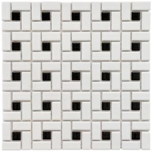 Merola Tile Spiral Black And White 12 1 2 In X 6 Mm Porcelain Mosaic 11 Sq Ft Case Fkomsp20 The Home Depot