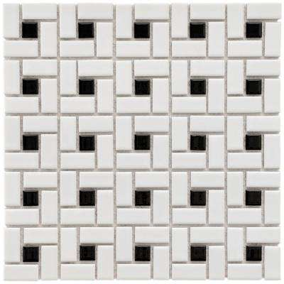 Spiral Black and White 12-1/2 in. x 12-1/2 in. x 6 mm Porcelain Mosaic Tile (11.1 sq. ft. / case)