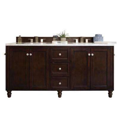Copper Cove Encore 72 in. W Double Vanity in Burnished Mahogany with Soild Surface Vanity Top in Arctic with White Basin