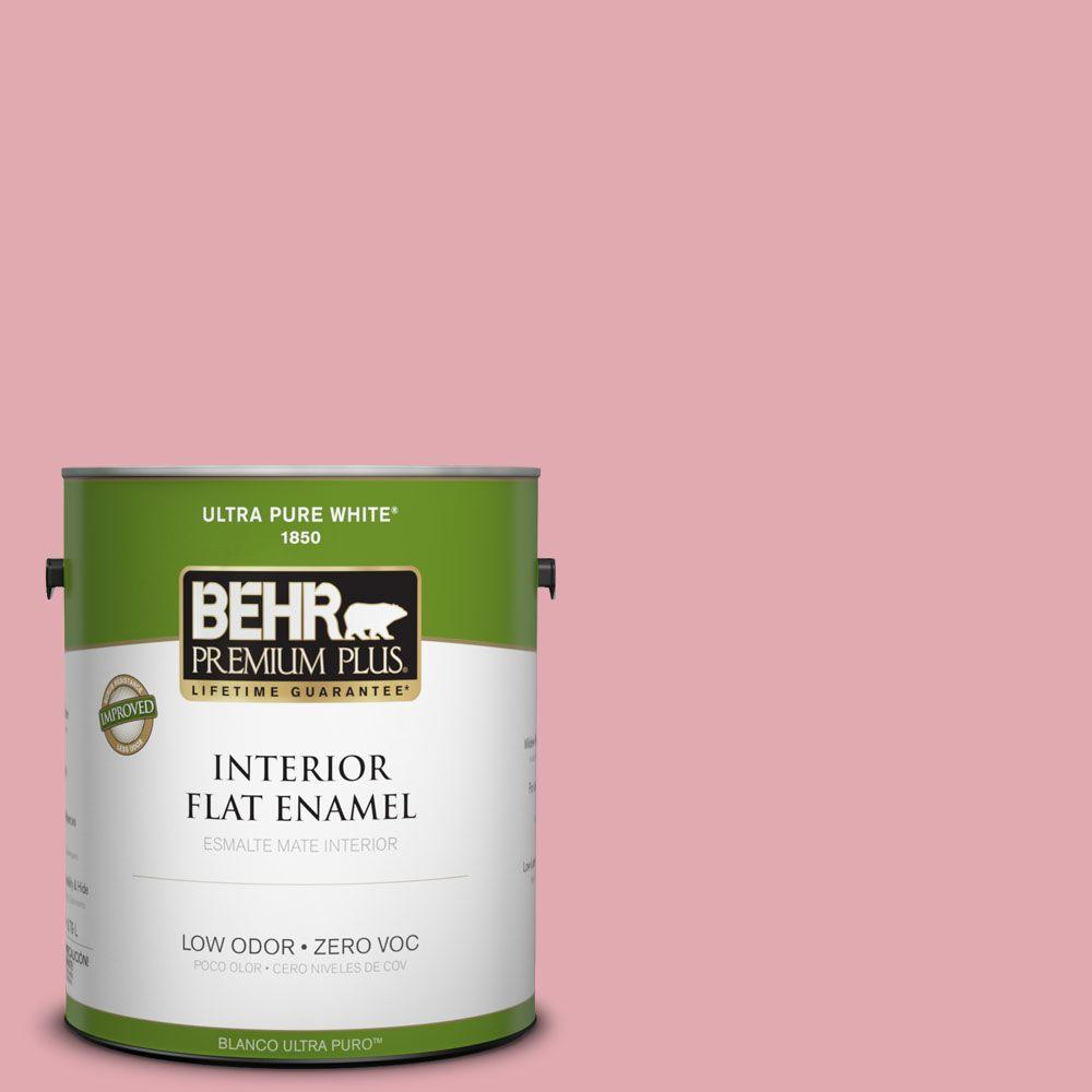 BEHR Premium Plus 1-gal. #130C-3 Raspberry Lemonade Zero VOC Flat Enamel Interior Paint-DISCONTINUED