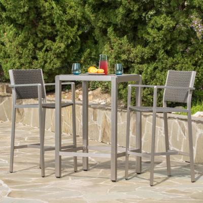 Gray 3-Piece Wicker Square Outdoor Bar Height Bistro Set