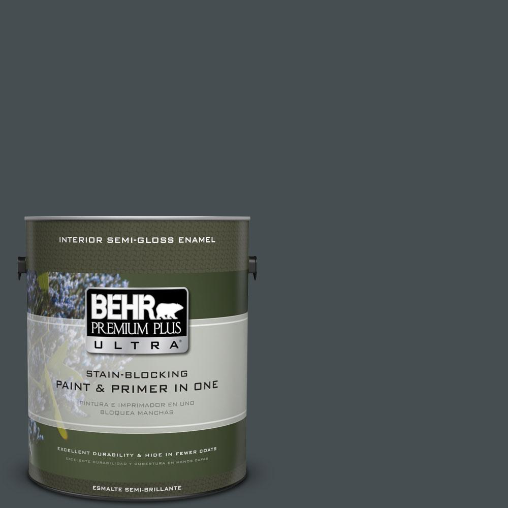 1-gal. #720F-7 Dark As Night Semi-Gloss Enamel Interior Paint