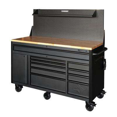 60.125 in. 10-Drawer and 1-Door 24 in. D Textured Black Matte Mobile Workbench, Sliding Pegboard and Shelf