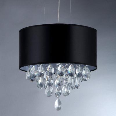 Sophie 3-Light Silver Crystal Chandelier with Black Shade
