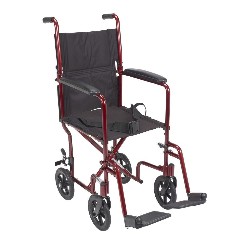 Lightweight Transport Wheelchair in Red with 17 in. Seat
