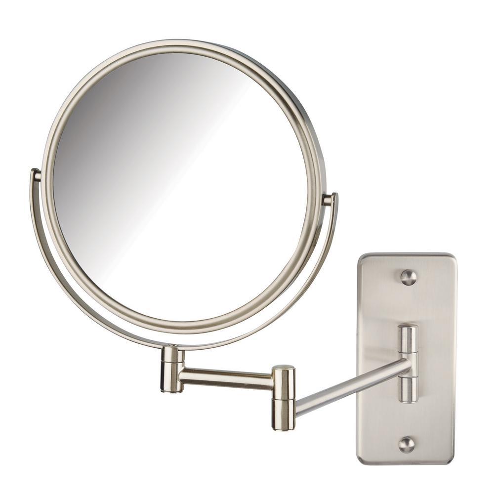 Jerdon 11 in. x 14 in. Wall Makeup Mirror in Nickel