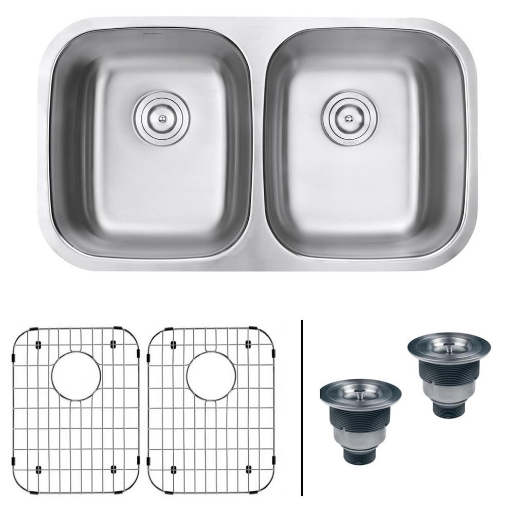50 50 undermount 16 gauge stainless steel double bowl kitchen ruvati 32 in  50 50 undermount 16 gauge stainless steel double      rh   homedepot com