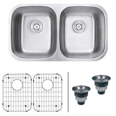 32 in. 50/50 Undermount 16-Gauge Stainless Steel Double Bowl Kitchen Sink