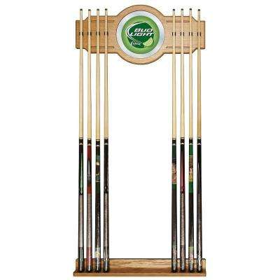 Bud Light Lime 30 in. Wooden Billiard Cue Rack with Mirror