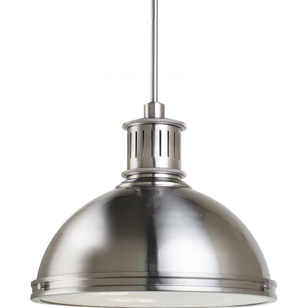 Sea Gull Lighting Pratt Street Metal 16 In W 3 Light Brushed Nickel Pendant