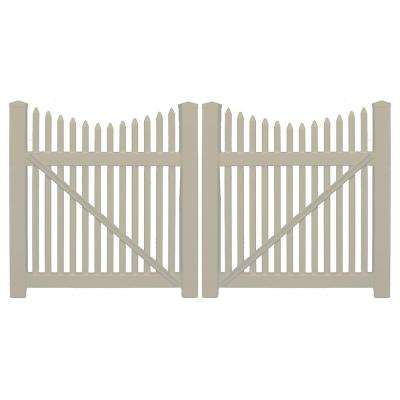 Barrington 8 ft. W x 3 ft. H Khaki Vinyl Picket Double Fence Gate