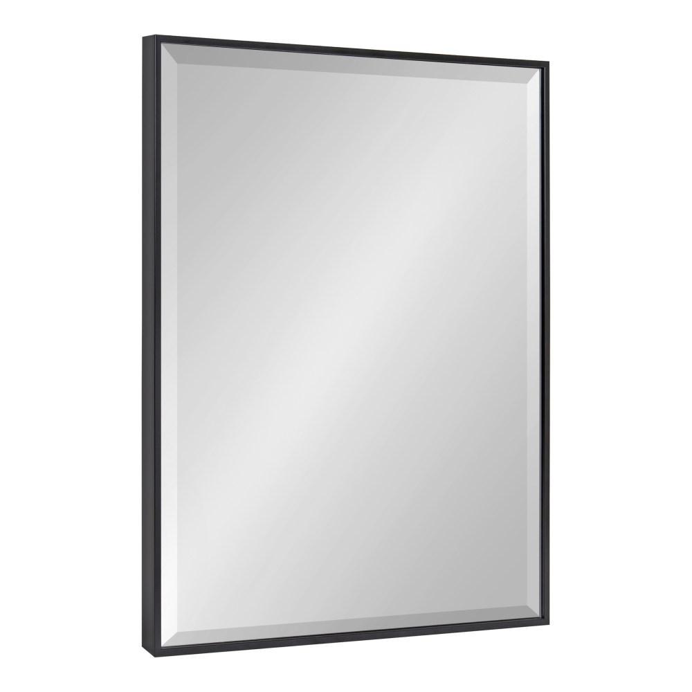 Medium Rectangle Black Beveled Glass Modern Mirror (28.75 in. H x 22.75 in. W)