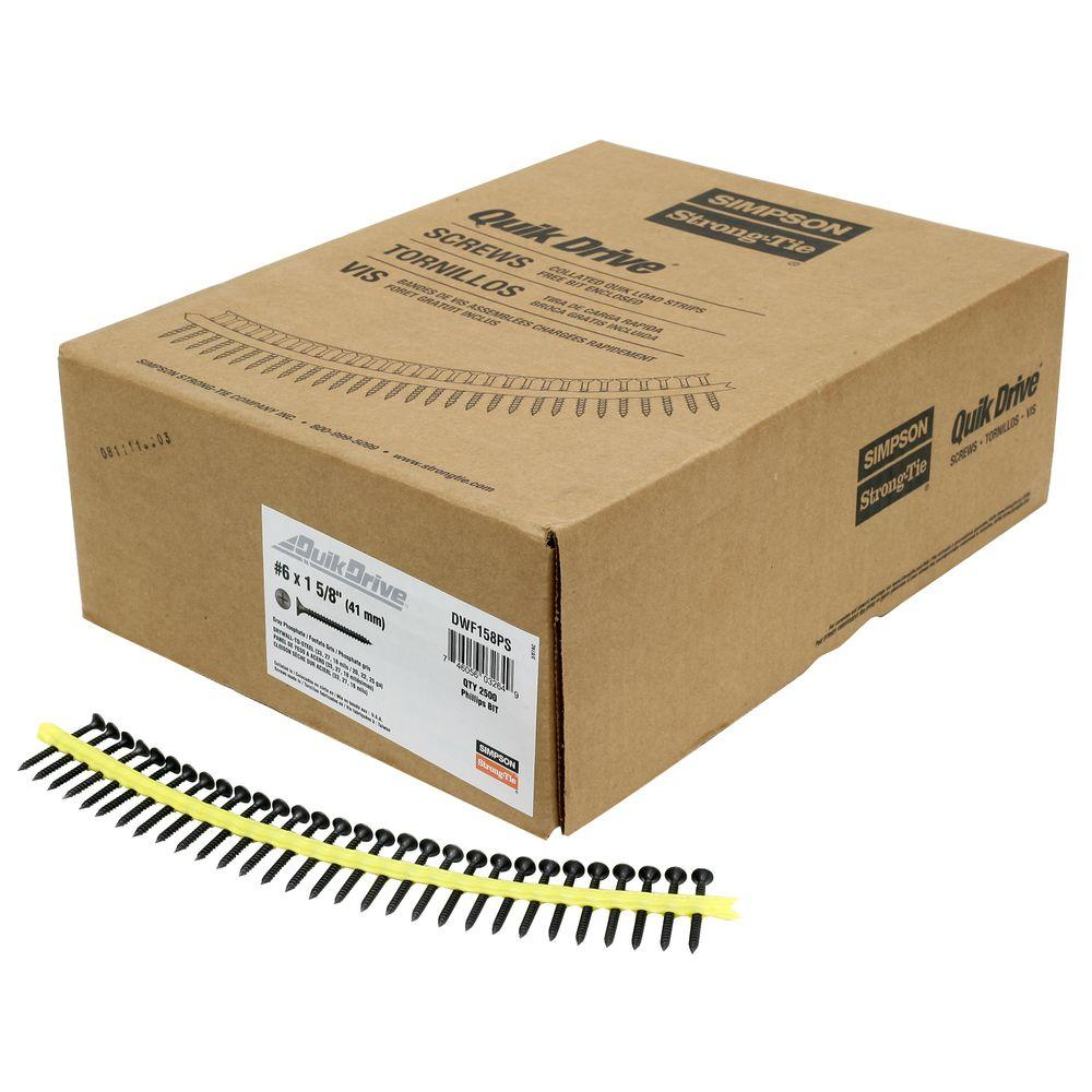 Simpson Strong-Tie #6 1-5/8 in. Gray Phosphate DWF Collated Screw (2,500 per Box)