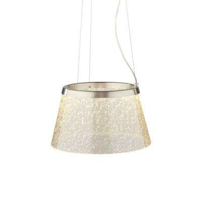 Duke 1-Light Satin Nickel Clear LED Hanging Pendant with Silver Mica Suspension