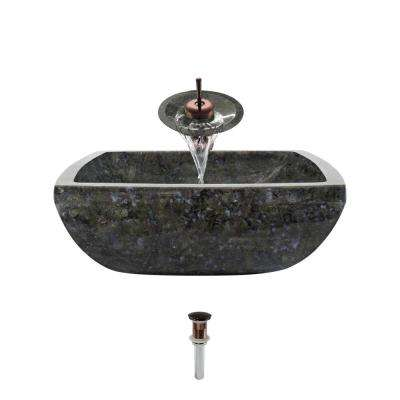 Stone Vessel Sink in Butterfly Blue Granite with Waterfall Faucet and Pop-Up Drain in Oil Rubbed Bronze