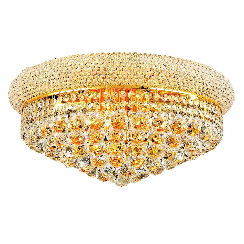 10-Light Gold Flushmount with Clear Crystal