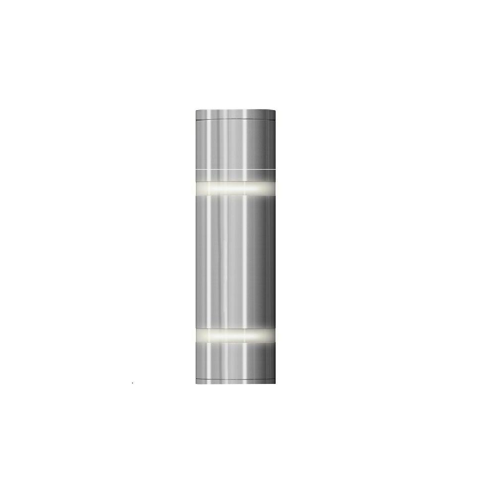 artika 2 light stainless steel outdoor and indoor wall mount sconce amp70 hdsscom the home depot. Black Bedroom Furniture Sets. Home Design Ideas