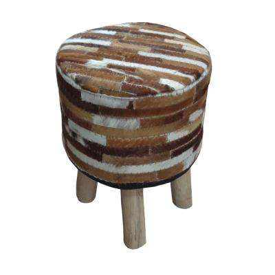 Annah Ivory and Brown Hide Leather Stool