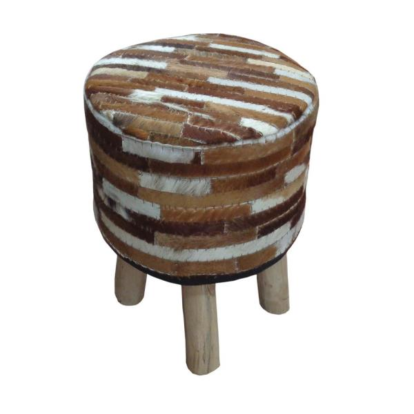 Acme Furniture Annah Ivory and Brown Hide Leather Stool 96430