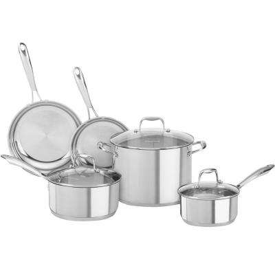 8-Piece Polished Stainless Steel Cookware Set with Lids