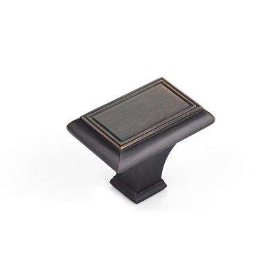Traditional 1-11/16 in. x 1-3/32 in. (43 mm x 28 mm) Brushed Oil-Rubbed Bronze Rectangular Cabinet Knob