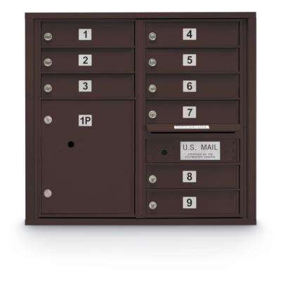 9-Door Standard 4C Mailbox with (1) Parcel Locker (Bronze)