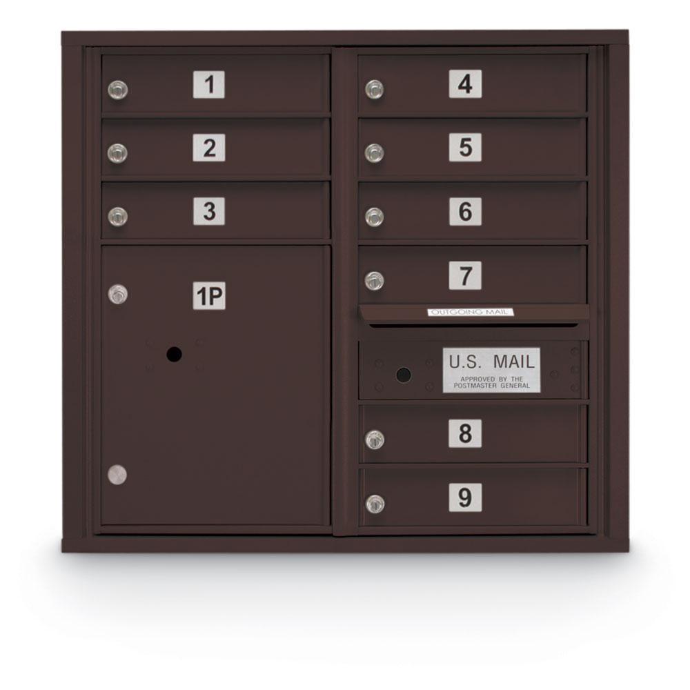 9-Door Standard 4C Mailbox with (1) Parcel Locker (Bronze)