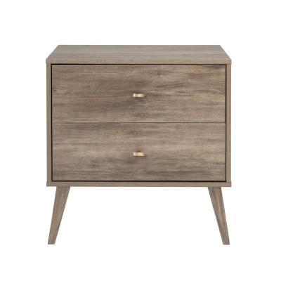 Milo Mid Century Modern 2-Drawer Drifted Gray Nightstand